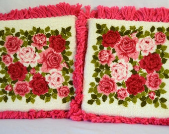 Bright Kitchy Pillows Vintage Rose Cotton Terry Washcloths and Yarn Pair