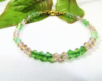Bracelet Adorned with Green and Topaz Swarovski Crystals and Gold Plated Magnetic Clasp