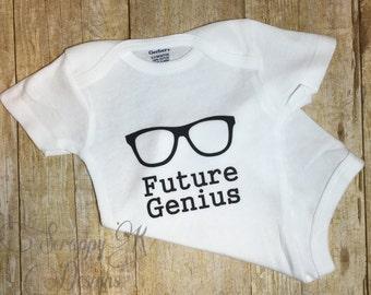 Future Genius Baby Onesie, Nerd, Geek, Creeper Romper baby boy baby girl baby shower gift