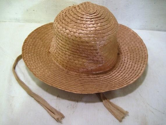 Women brim straw hat beach bronze tone summer fishing for Fishing straw hat