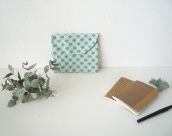 Pouch in fabric Scandinavian Mint and green grounds