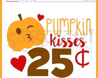 Pumpkin clipart, halloween clipart, fall clipart, kiss clipart, Instant download