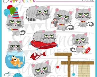 cat clipart, grumpy cat, kitty clipart, cat clip art, pet clipart, pet clip art, instant download