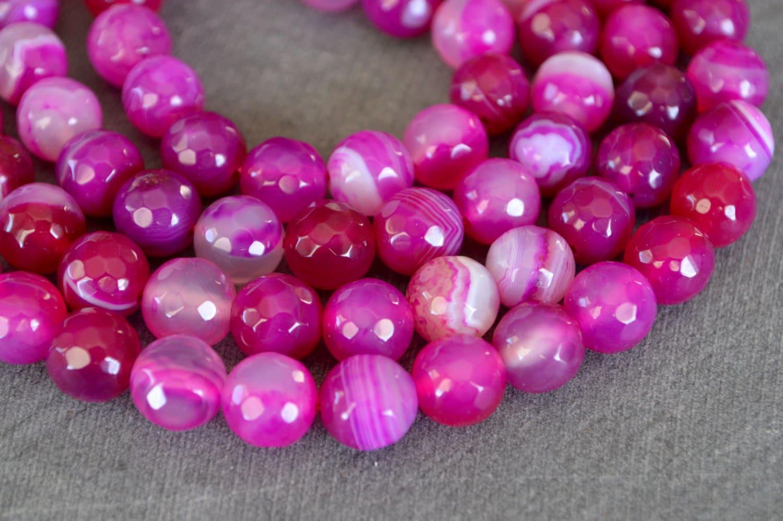 8mm pink agate gemstone bright pink 10