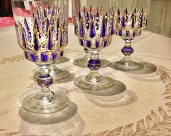 6 cut glass wine glasses, hand painted vintage 1960