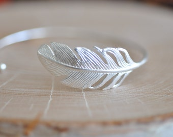 Feather Bracelet in Sterling Silver 925, Nature Bracelet, Tribal Bracelet, Silver Feather Bracelet, Nature Jewelry, Jamber Jewels 925