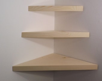 3 Piece Floating Corner Shelves Choose a Stain Handmade in the USA