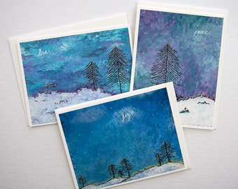 Holiday greeting cards. Unique christmas cards. Winter greeting card set. Stocking stuffer. Fine art greeting cards. Hostess gifts.