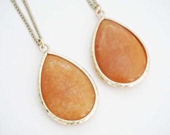Amber Orange Stone and Gold Necklace