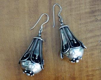 Vintage Balinese Sterling Silver Dangle Earrings