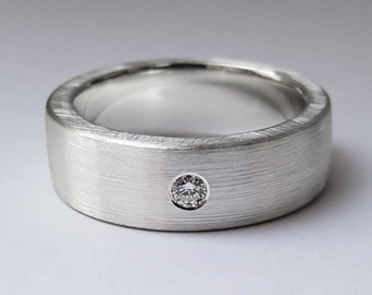 Wide Brushed Diamond Band in Sterling Silver -Diamond Band, Brushed Diamond Band, Sterling Silver Diamond Wedding Band, Diamond Wedding Ring