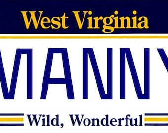 Personalized West Virginia Refrigerator Magnet State License Plate Replica