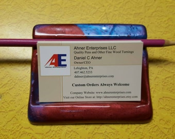Custom color hand casted business card holder with pen/pencil rest.