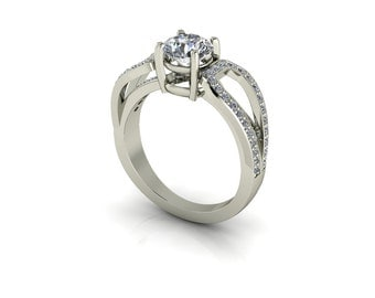 Forever One Round Moissanite Cathedral Vintage Pavé Bridge Accent Diamond Engagement Ring