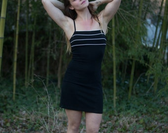90s Vintage Black Bodycon Spaghetti Strap Camisole Mini dress with White Piping, Silky Textured, Byer Too! sz Small , S