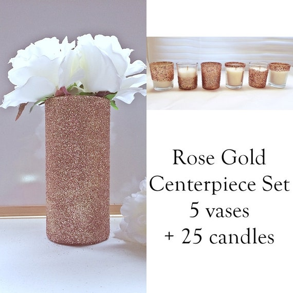 Rose Gold Wedding Centerpiece By