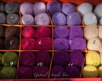 Bheda Wool 6 Colors of Your Choice, Felting Wool, Dry Felting, Wet Felting, Wool Roving for Felting and Spinning, 36 Colors, Ready to Ship