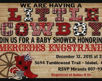 Print Your Own - Little Cowboy Western Boy Baby Shower Invitation