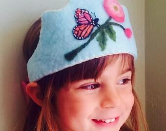 Felt Crown , Birthday Crown, Waldorf Crown Monarch Butterfly