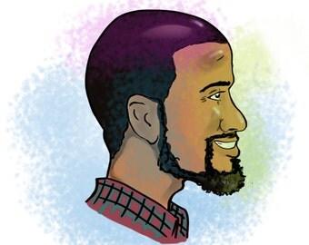 Full Color Custom Side Profile Caricature