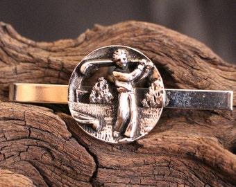 Vintage Golf Tie Clip Clasp Bar Silver Tone
