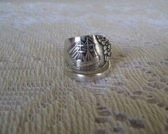 """Sterling Spoon Ring, Spoon Jewelry, Sterling Ring, Spoon Ring, """"Plymouth"""" Colonial Collectibles, Massachussetts, Sized to Fit"""