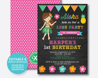 luau invitations  etsy, Birthday invitations