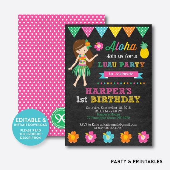 instant download editable aloha luau birthday invitation luau
