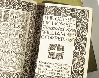 The Iliad and the Odyssey of Homer / 2 Volumes in Good condition for their age / Everymans Library