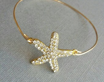 Gold Starfish Bangles, Gold Wire Bangles, Minimalist Jewelry, Stackable bangles, Layered Bracelets, Bridesmaid Gifts, Maid of Honor Gifts
