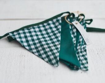 Green Gingham Bunting - Kitchen Decor - Country Cottage Decor - Garden Party Decor - Baby Shower Decor - Wedding Decor