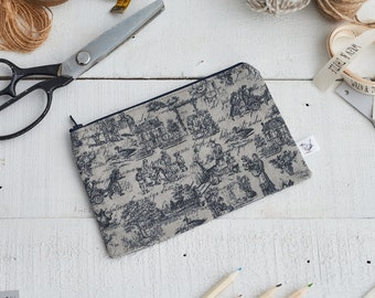 Small Zipped Dark Grey Toile de Jouy Print Pouch