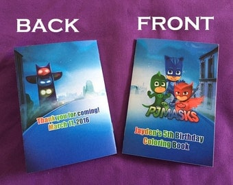12 Personalized PJ Masks Coloring Books, Party Favors