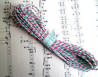 10 Metres of British Butchers Twine in Red, Green and White 10m British Bakers Twine Bundle