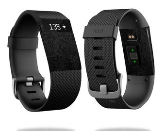 Skin Decal Wrap for Fitbit Blaze, Charge, Charge HR, Surge Watch cover sticker Black Leather