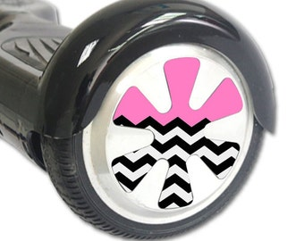 Skin Decal Wrap for Hoverboard Balance Board Scooter Wheels Pink Chevron