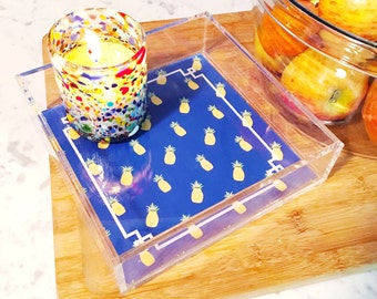 Pineapple decor, acrylic tray, lucite catchall, pineapples, acrylic accessory, monogrammed tray, jewelry organizer, pineapple designs