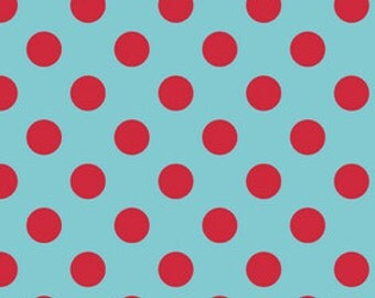 Riley Blake Designs-Red Dot Fabric-Aqua Fabric-Quilting Fabric-Fabric by the Yard-Sewing Fabric-Polka Dot Fabric-Fat Quarter-Yardage