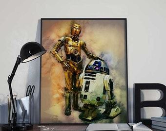 R2D2 and C3PO Droids Star Wars Art Print Poster - INSTANT DOWNLOAD 8x10 inches - Ideal Last Minute Gift