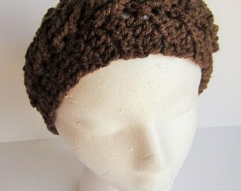 READY TO SHIP** Brown crochet ear warmer, crochet headband, cable knit ear warmer, brown crochet hat, winter headband, cable headband