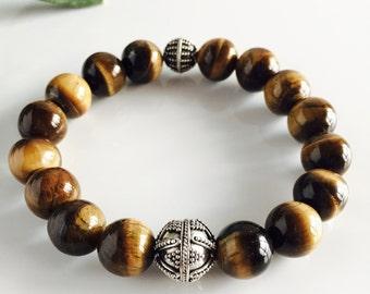 Genuine Tiger's Eye and Sterling Silver Stretch Bracelet