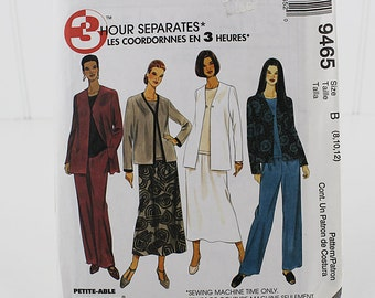 Easy Jacket, top, pants and skirt Pattern, UNCUT Sewing Pattern, McCalls 9465, Size 8, 10, 12