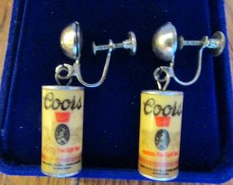 Vintage Pair of Coors Beer Can Screw Back Earrings