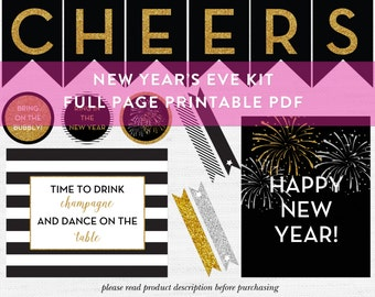 New Year's Eve Printable Party Kit, Cheers Glitter Banner, New Year's Eve Home Decor, Holiday Bar Cart Decor, NYE Printable, Gold, Silver