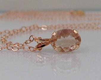 Oregon Sunstone 14K Rose Gold Pendant, 8x6mm Sunstone Gemstone, Solid Rose Gold Necklace, Peach Pink Sunstone Necklace, Dust Devil Sunstone