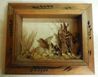 Vintage Shadow box wall Decor Deer Scenery engraved wooden frame