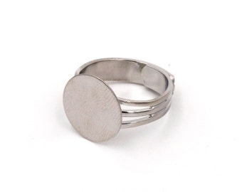 5 Pieces Adjustable Ring Blank with 18 mm Glue Pad, Silver Tone Copper Metal, Sturdy, 4 mm Band, Men's Ring Blank