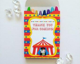 Circus crayon boxes