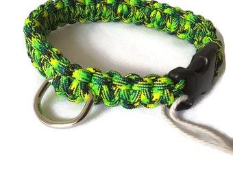 Bright Green Dog Collar - handmade paracord puppy collar