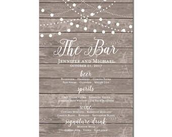 Printable Bar Menu Sign - Wedding Printable Bar Menu Sign - Wedding Bar Menu Poster - Wedding Sign - Wedding Bar Menu - Drink Menu #CL118